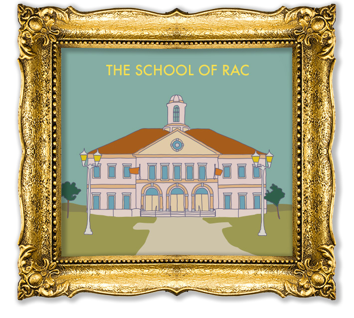 Gold frame with vector illustration of an academy inside. Text reads, School of RAC.