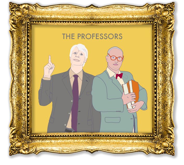 Vector illustrations in the style of Wes Anderson created by Joel Mertz. There are two professors depicted. Text reads, The Professors.