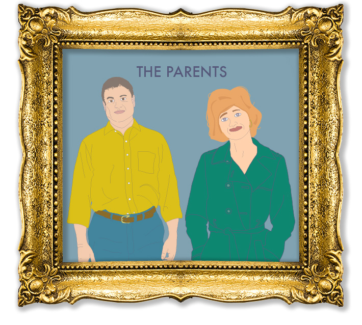 Vector illustrations in the style of Wes Anderson created by Joel Mertz. There are two parents. Text reads, The Parents.