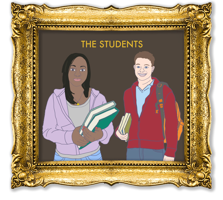 Vector illustrations in the style of Wes Anderson created by Joel Mertz. There are two students depicted. Text reads, The Students.