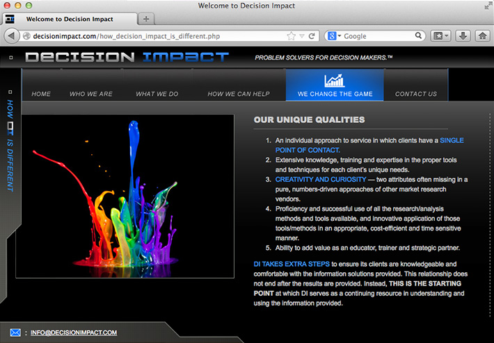 Screenshot of a website created by Joel Mertz for marketing and analytics firm, Decision Impact. The site has a dark, modern design with a hyper blue accent color.