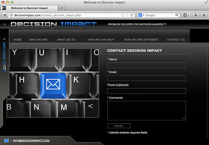 Screenshot of a website created by Joel Mertz for marketing and analytics firm, Decision Impact. This page includes a contact form that was developed using HTML, PHP and Javascript.