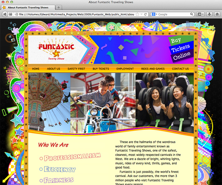 Screenshot of a website created by Joel Mertz for Funtastic Traveling Shows. The site is filled with bright colors, hand drawn illustrations and photos from carnivals. There is an animated border of star lights created using Flash.
