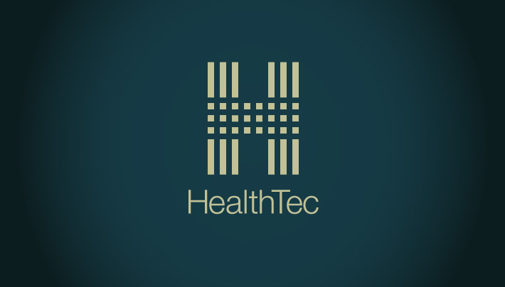 Logo concept created by Joel Mertz for a publicly traded Healthcare savings company. The graphic is of an H broken up both vertically and horizontally by 90 degree lines. There is text on the logo that reads, HealthTec.