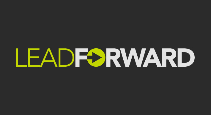 A logo created by Joel Mertz for a leadership conference held in Miami, Florida. The graphic includes the text lead forward. There is a green circle with an arrow in the middle that has replaced the o in forward.
