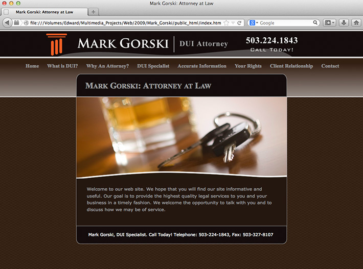 Screen shot of a website created by Joel Mertz for DUI attorney, Mark Gorski. There is a tileable, brown, crosshatched background.