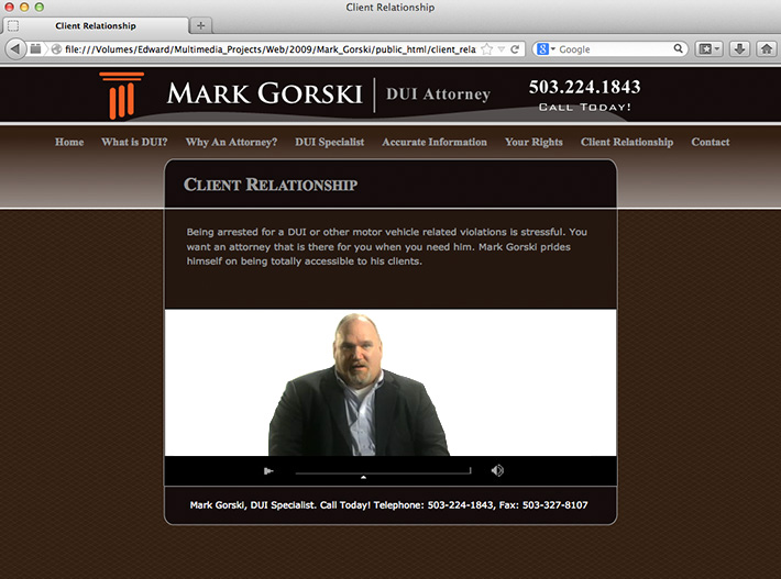 Screen shot of a website created by Joel Mertz for DUI attorney, Mark Gorski. A flash video of Mark Gorski talking to the camera can be seen. There is also a tileable, brown, crosshatched background.