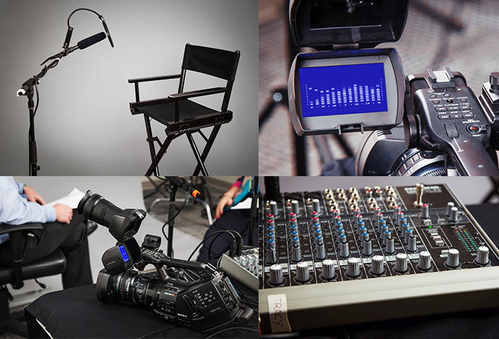 Photos of audio equipment used for a podcast recording
