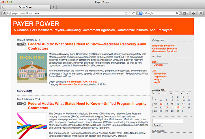 Screen shot of a blog created by Joel Mertz for HMS's podcast, Payer Power. The blog lists podcast episodes and includes text descriptions and a thumbnail for each episode.