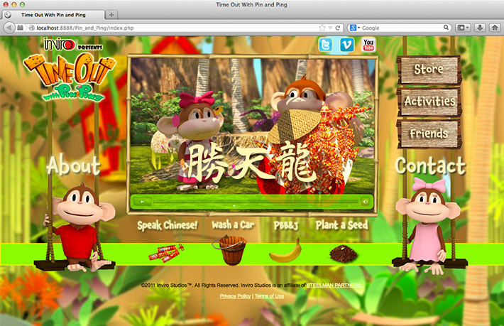 Screen shot of a website created by Joel Mertz for the animated cartoon series, Time Out With Pin and Ping. This page includes an embedded Flash video of the Pin and Ping episode, Speak Chinese!