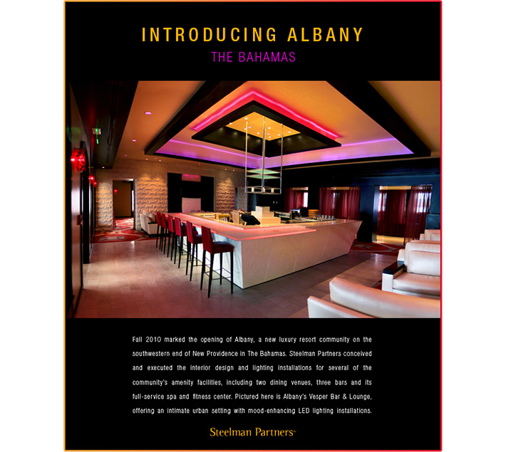 HTML email designed by Joel Mertz for promoting Steelman Partners, Albany. The design is black with white text and includes a photo of lounge lit with orange and purple led lights.