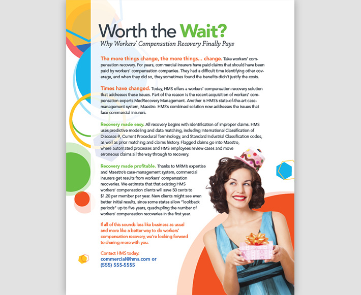 White paper designed by Joel Mertz for HMS. The design has a celebratory tone and the title reads, Worth the Wait? Why Workers' Compensation Recovery Finally Pays.