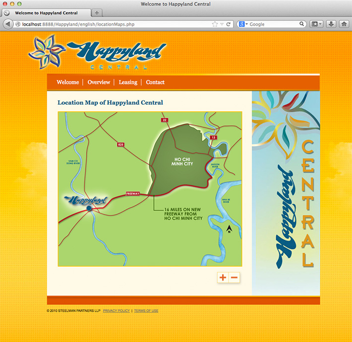 Screenshot of web page. Interactive map feature developed by Joel Mertz for Happyland Central.
