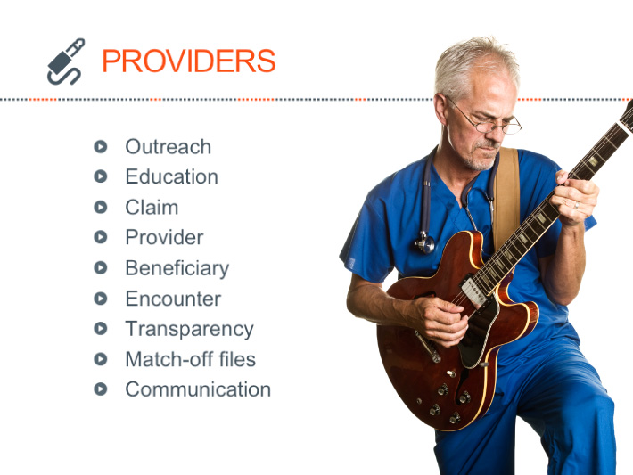 PowerPoint slide designed by Joel Mertz. There is a graphic of a doctor playing an electric guitar. The title of the slide reads, PROVIDERS.