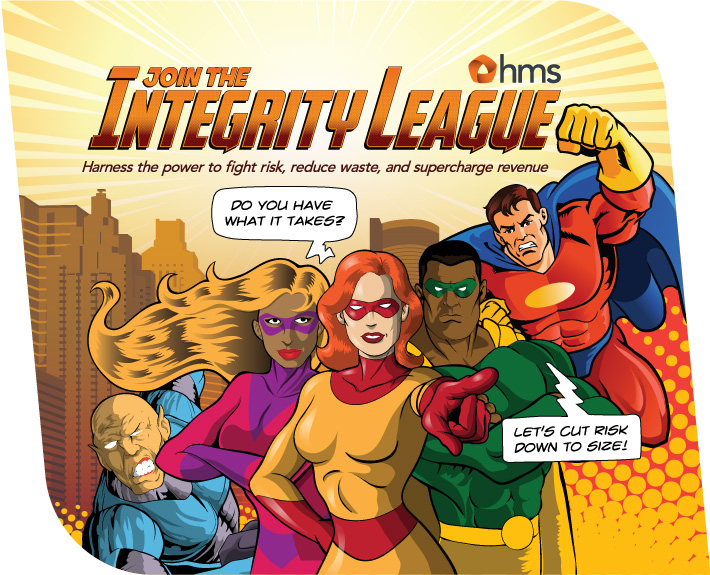 Superhero theme booth skin design by Joel Mertz for HMS. The title reads, Join the Integrity League. The booth was shown at NOPLG in 2014.