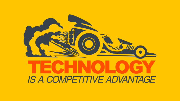 PowerPoint slide designed by Joel Mertz. Text reads, technology is a competitive advantage. There is a race car pictured.